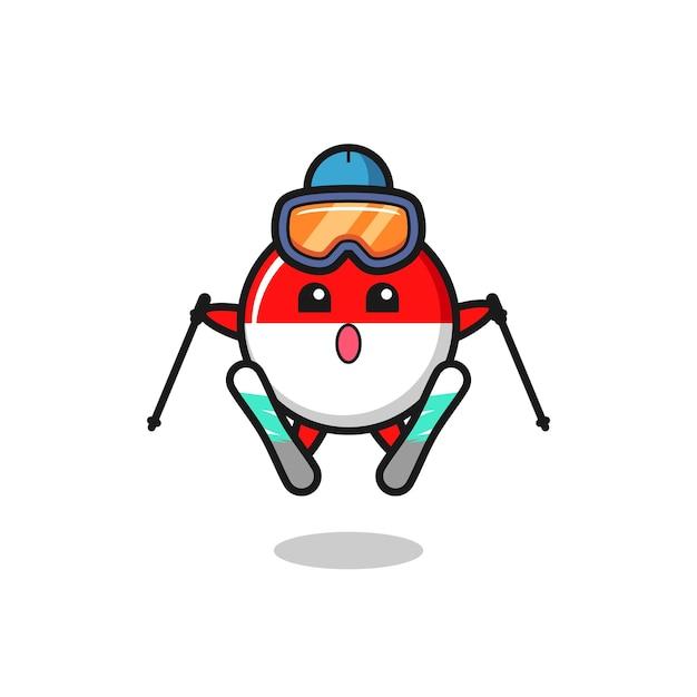 Carattere della mascotte del distintivo della bandiera dell'indonesia come giocatore di sci, design in stile carino per maglietta, adesivo, elemento logo