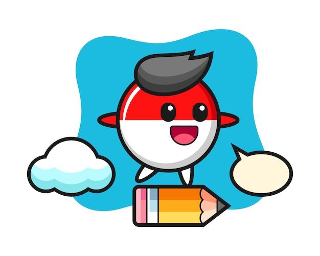 Indonesia bandiera distintivo illustrazione mascotte cavalcando una matita gigante