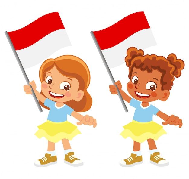 Bandiera dell'indonesia in mano insieme