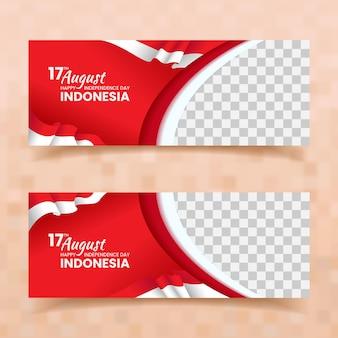Banner di festa dell'indipendenza dell'indonesia 17 agosto