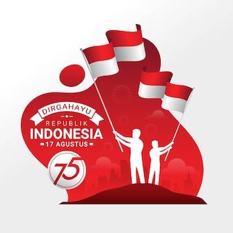 Cartolina d'auguri di celebrazione del giorno dell'indipendenza dell'indonesia