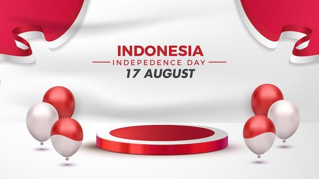Podio dell'esposizione della decorazione del giorno dell'indipendenza dell'indonesia con il pallone sulla scena bianca del fondo