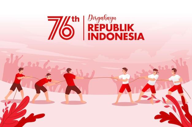 Cartolina d'auguri di festa dell'indipendenza dell'indonesia con illustrazione di concetto di giochi tradizionali. la repubblica di dirgahayu indonesia si traduce nel giorno dell'indipendenza della repubblica di indonesia