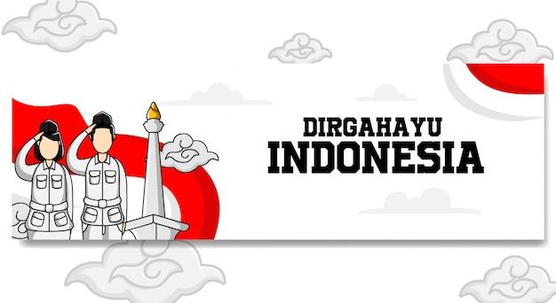 Progettazione dell'insegna del paesaggio di festa dell'indipendenza dell'indonesia