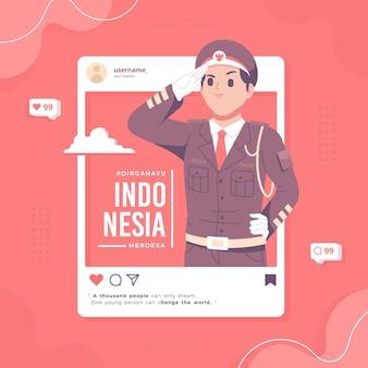 Fondo dell'illustrazione di concetto di social media di giorno dell'indipendenza dell'indonesia