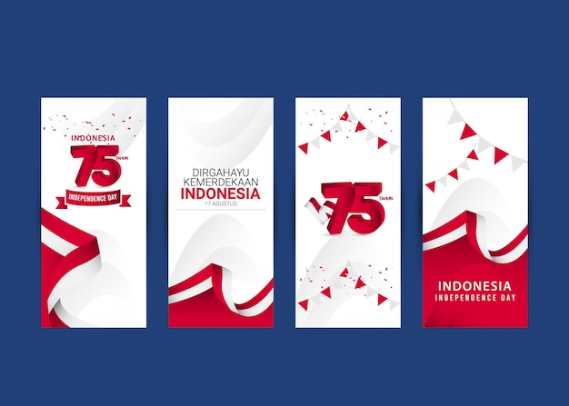 Modello di festa dell'indipendenza dell'indonesia. design per banner, biglietti di auguri o stampa.