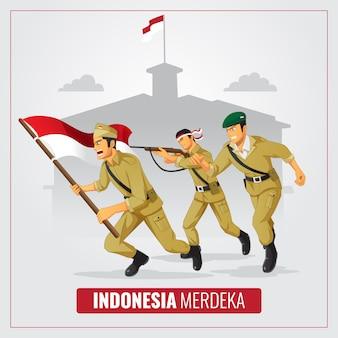 Festa dell'indipendenza dell'indonesia con sfondo di eroe