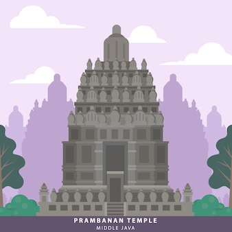 Punto di riferimento del tempio di indonesia java prambanan