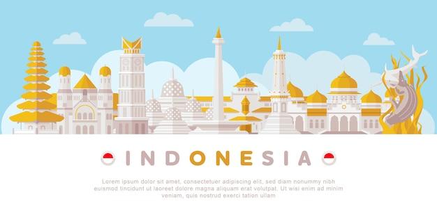 Punto di riferimento in indonesia Vettore Premium