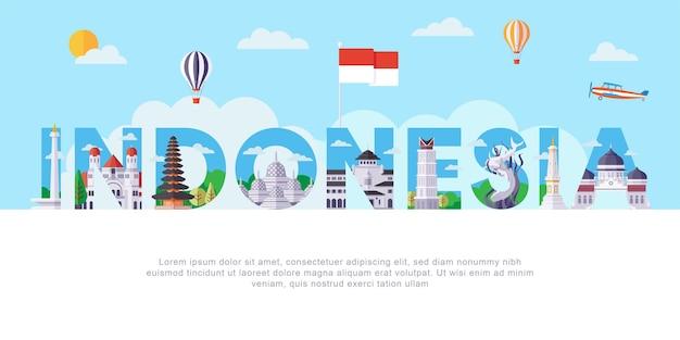 Luoghi d'interesse dell'indonesia piatto