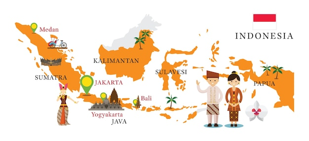 Mappa dell'indonesia e punti di riferimento con persone in abiti tradizionali