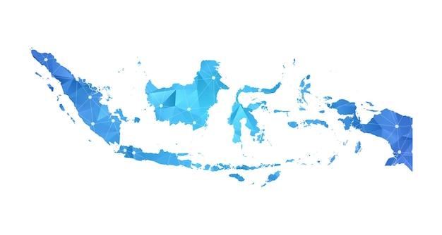 Indonesia mappa linea punti geometrici astratti poligonali.