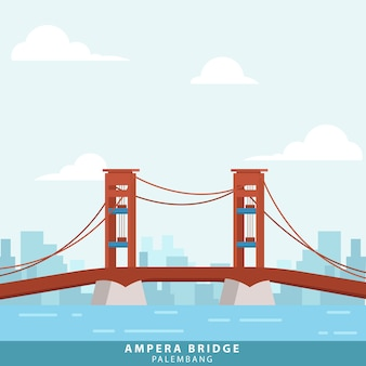 Punto di riferimento dell'indonesia palembang ampera bridge