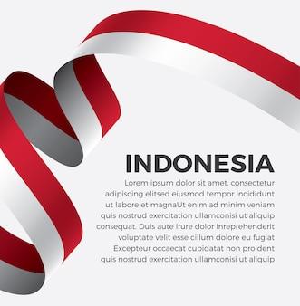 Illustrazione di vettore della bandiera del nastro dell'indonesia su una priorità bassa bianca vettore premium