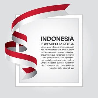 Bandiera del nastro dell'indonesia, illustrazione vettoriale su sfondo bianco