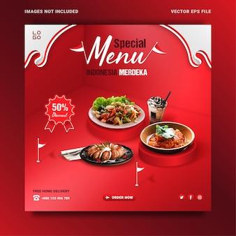 Modello dell'insegna di promozione del menu dell'alimento del giorno dell'indipendenza dell'indonesia, stile isometrico.
