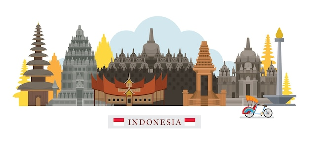 Monumenti di skyline di indonesia