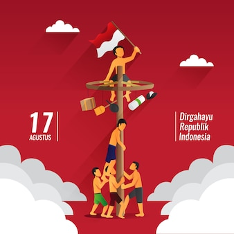 Indonesia giochi tradizionali durante la festa dell'indipendenza, panjat pinang, pole climbing