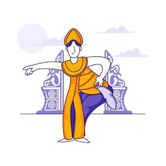 Ballerino indonesiano illustrazione concetto