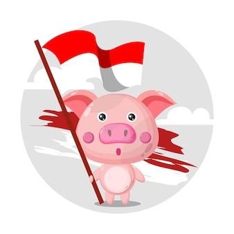 Logo del personaggio mascotte maiale bandiera indonesiana flag