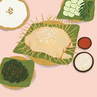 Illustrazione di cibo indonesiano chiamata ingkung ayam
