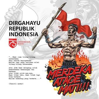 Combattente indonesiano per la libertà. merdeka ataoe mati. illustrazione di stile comico