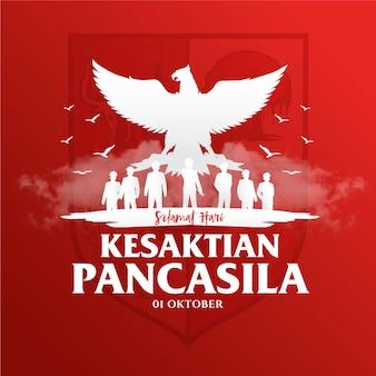 Illustrazione di festa indonesiana pancasila day.