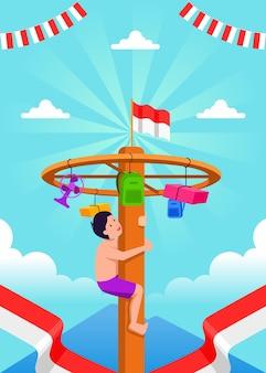Celebrazione del giorno dell'indipendenza indonesiana con il tradizionale gioco del panjat pinang