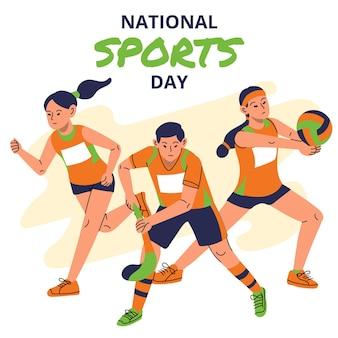 Illustrazione della giornata sportiva nazionale indonesiana