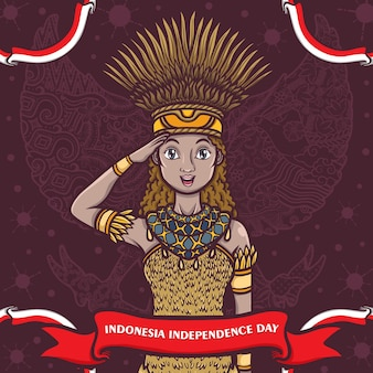 La ragazza indonesiana della papua saluta il felice giorno dell'indipendenza