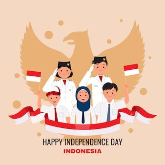 Gli studenti indonesiani celebrano il giorno dell'indipendenza concetto di nazionalità design piatto vettoriale dei cartoni animati
