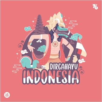 Fondo dell'illustrazione di concetto di festa dell'indipendenza della cultura tradizionale indonesiana
