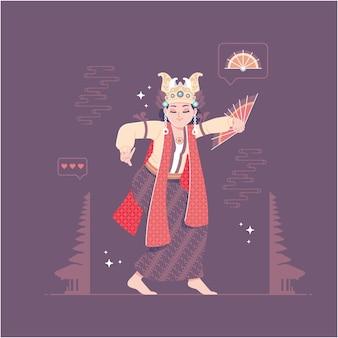 Fondo tradizionale indonesiano dell'illustrazione di ballo della ragazza