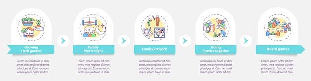Modello di infografica attività familiari al coperto
