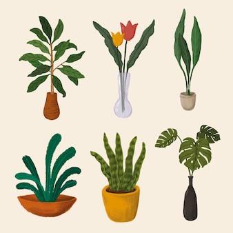 Vettore di raccolta di adesivi per piante d'appartamento
