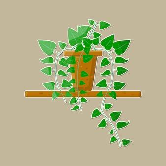 Pianta da interno in vaso con illustrazione vettoriale di colore verde e marrone