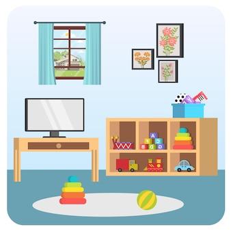 Illustrazione della casa della stanza del bambino della tv dell'interno