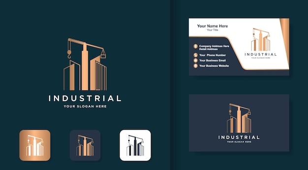 Concetto di logo di architettura industriale e biglietto da visita