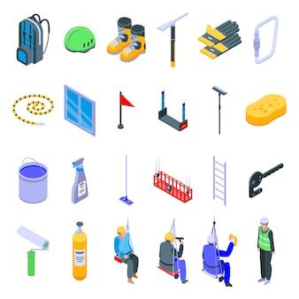 Set di icone di scalatore industriale, stile isometrico