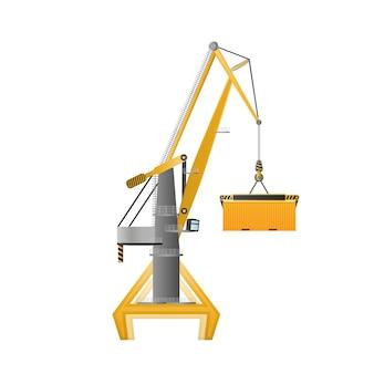 Gru industriale per il sollevamento di merci. buono per il design sul tema della distribuzione, della logistica e del trasporto merci. isolato. vettore.