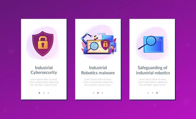 Modello di interfaccia app di sicurezza informatica industriale.