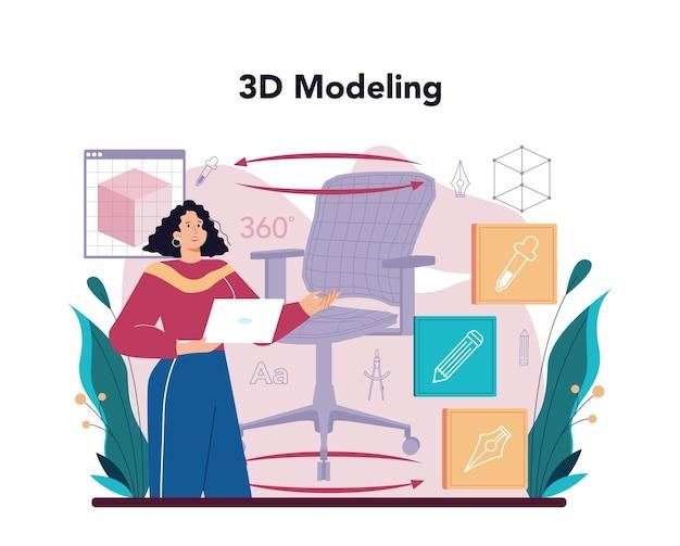 Concetto di modellazione 3d di design industriale