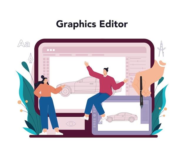 Servizio online di designer industriale o artista della piattaforma che crea moderno