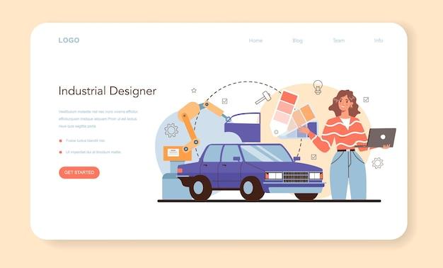 Banner web o pagina di destinazione del designer industriale. artista che crea ambiente moderno e oggetto tecnologico. progettazione dell'usabilità del prodotto, sviluppo della produzione. illustrazione vettoriale isolato