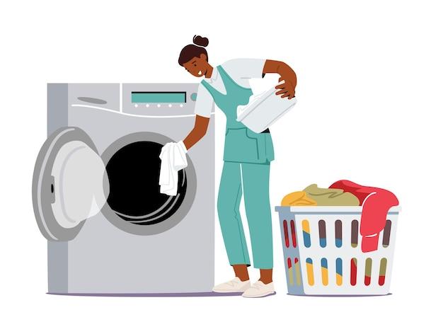 Servizio di lavaggio e pulizia di lavanderie industriali o domestiche. personaggio femminile dell'operaio nella lavanderia pubblica di lavaggio a secco che carica vestiti sporchi alla macchina della lavanderia a gettoni. fumetto illustrazione vettoriale