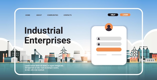 Modello di pagina di destinazione del sito web del portale delle imprese industriali zona delle fabbriche centrali di produzione centrali elettriche