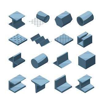 Set di icone industriali di produzione metallurgica. immagini isometriche di tubi in acciaio o ferro