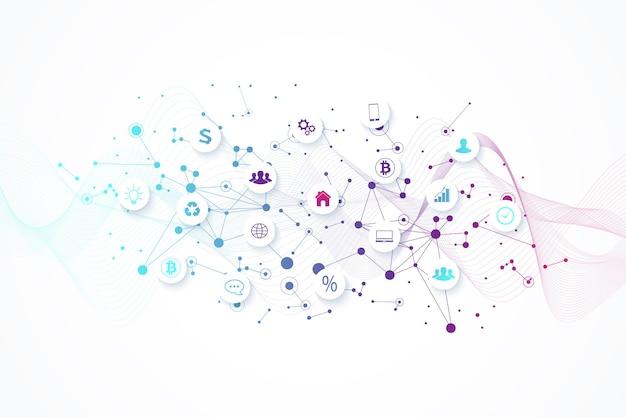 Sfondo industriale di internet delle cose, concetto innovativo di flusso d'onda per internet delle cose. (iot) sfondo della connessione di rete per il commercio mondiale. industria di affari di internet delle cose, vettore.