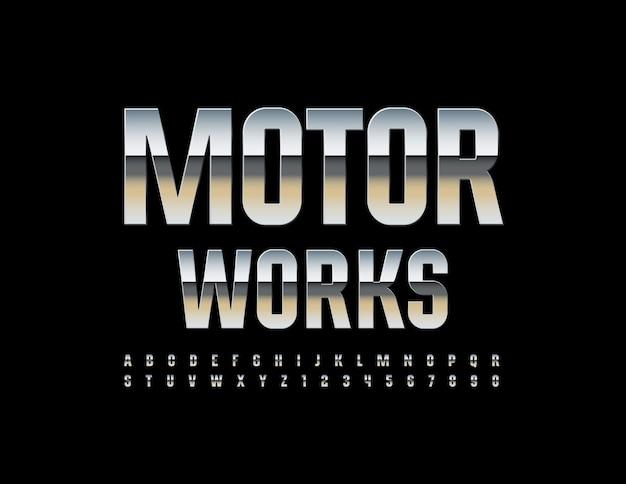 Logo industriale motor works metallic lucido font chrome lucido alfabeto lettere e numeri impostati