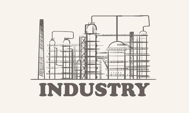 Disegnato a mano di schizzo di pianta petrolifera industriale